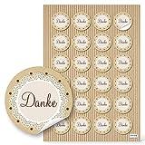 48 kleine runde DANKE Aufkleber Geschenkaufkleber natur beige braun vintage Dankeschön Sticker Etiketten 4 cm Geschenk-Verpackung Gastgeschenk Hochzeit give-away Mitgebsel für Kunden und Gäste