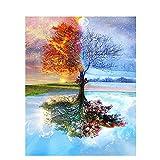 Malen nach Zahlen, Set mit Acrylfarben, um ein Gemälde anzufertigen von Shukqueen, Motiv: Baum in den vier Jahreszeiten, 40,6x 50,8cm, Frameless,Just Canvas