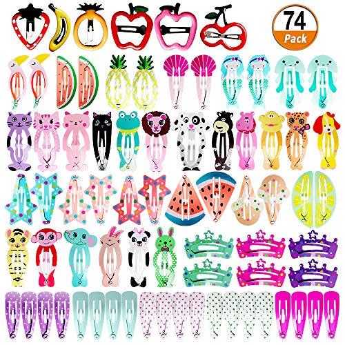 Heqishun Haarspangen Mädchen Haarschmuck 74 Pcs Baby Mädchen Haarklammern Kinder Mädchen Haarspangen Cartoon Muster Haar Clips Metall Haar Pins Haarschmuck für Mädchen und Baby Mädchen Muster-clip