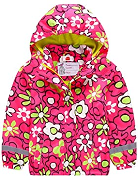 Kinder Mädchen Matsch und Buddeljacke Fleece Wasserdicht Winddicht Regenjacke mit Kapuze