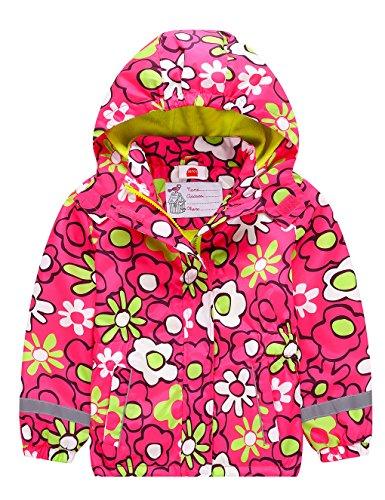 Kinder Mädchen Matsch und Buddeljacke Fleece Wasserdicht Winddicht Regenjacke mit Kapuze, Farbe Mehrfarbig Red, Size 134 (Mädchen Fleece Jacke Mit Kapuze)