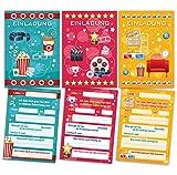 6 Einladungskarten Kindergeburtstag Mädchen Jungen Kino Jungs Geburtstagseinladungen Einladungen Geburtstags Party Kartenset (2 x blau, 2 x pink, 2 x gelb)