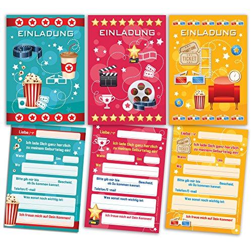 12 Einladungskarten zum Kindergeburtstag für Mädchen und Jungen Kino-Party (4 x blau, 4 x pink, 4 x gelb) / Umschlag / bunte Einladungen zum Geburtstag / bunte Geburtstagseinladungen (12 Karten)