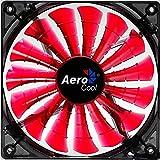 Aerocool SHARK - Ventilador gaming para PC (14 cm, 12V/7V, 15 aspas, 14.5 dBA, 1500rpm, iluminación LED naranja, ultrasilencioso, antivibración, cables enmallados), color rojo