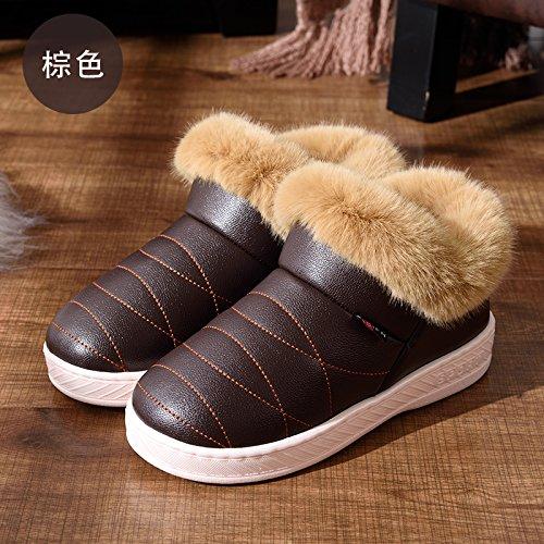 LaxBaFemmes Hommes chauds dhiver Chaussons peluche antiglisse intérieur Cotton-Padded Chaussures Slipper Brown