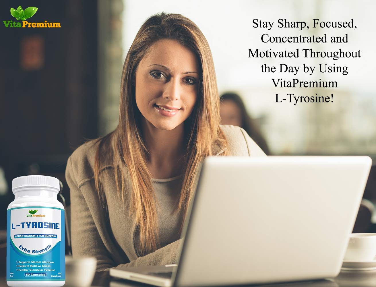 61Zvl6ZMsnL - L-Tyrosine Extra Strength, Amino Acids, 50 Veggie Capsules by Vita Premium