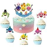 JeVenis - Decorazioni per cupcake a tema squalo, 25 pezzi, per feste di compleanno