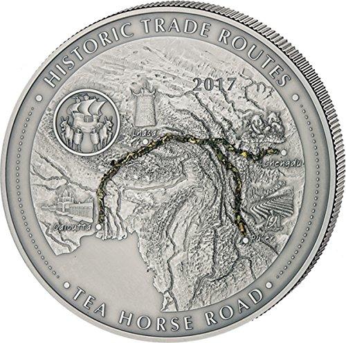 TEA HORSE ROAD Historic Trade Routes 5 Oz Silver Coin 5000 Francs Cameroon 2017 (Silber Münzen 5 Oz)