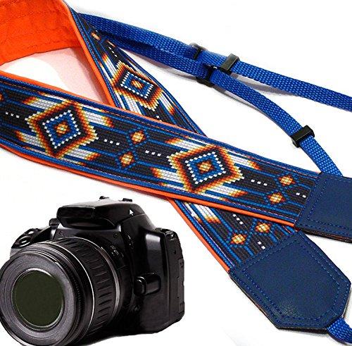 gurt inspiriert von Indianern Southwestern Ethnic Kameragurt, Blau/Orange DSLR/SLR Kameragurt Langlebiger, Leichter und gut Gepolsterter Kameragurt. Code 00168 ()