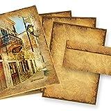 CASANOVA Briefpapier Altes Papier Set (25 Sets) A4, 90 g/qm, Historische Briefpapiermappe, 25 Briefbogen + 25 Umschläge