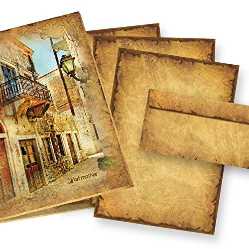 CASANOVA im Set Feines Briefpapier Altes Papier (25 Sets) Vintage A4, 90 g/qm, Historische...