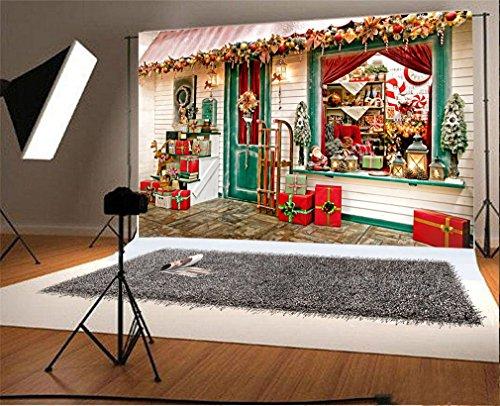 YongFoto 1,5x1m Foto Hintergrund Weihnachtsweihnachtsladen Kiefer Schlitten Ren Santa Calus Candy Cane Draussen Fotografie Hintergrund Fotoshooting Portraitfotos Party Kinder Fotostudio Requisiten