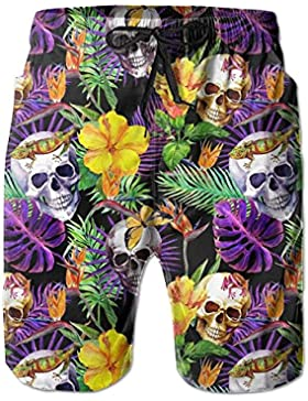 Funny Caps Tropical Leave Skulls Men's/Boys Casual Shorts Swim Trunks Swimwear Elastic Waist Beach Pants with...