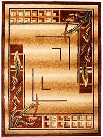 """Petit Tapis De Salon - Marron Brun Beige - Parfait Pour La Chambre - Design Classique - Plusieurs Coloris & Tailles """" KIRTAN """" 60 x 100 cm"""