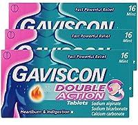3 x GAVISCON DOUBLE ACTION TABLETS (16 tables)