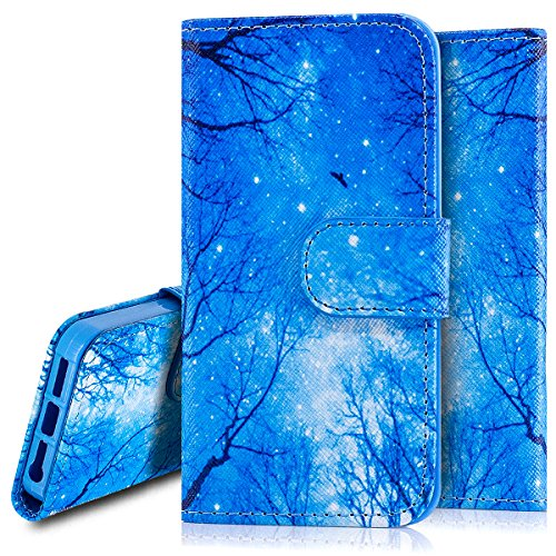 Custodia iPhone 5S cover iPhone 5 case iPhone SE,Ukayfe Stitching Colore Flip Case Cover per iPhone 5S,iPhone 5 iPhone 5S iPhone SE Lussuosa Astuccio Custodia Cover [PU Leather] [Shock-Absorption] Pro Stella Blu 2#