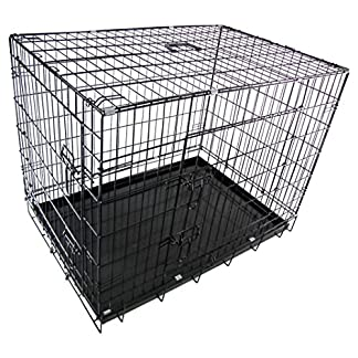 RayGar® Dog Cage Kennel Puppy Cat Pet Crate Cage Carrier 2 Door Foldable 61Zw07ToQFL