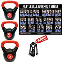 SET OF 3 FXR SPORTS VINYL KETTLEBELLS 6, 6, & 12KG WEIGHTS HOME GYM CARDIO