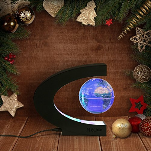 Farbwechsel Globus Beleuchtet, MECO 3 inch Schwebender Gobus Magnetische Kugeln interaktiver globus für kinder Weihnachtsgeschenke, Business-Geschenke, Geburtstag Geschenke, Wohnkultur Büro Dekoration-Blau