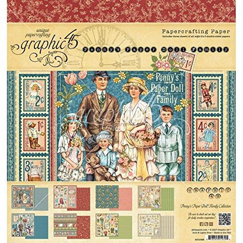 Graphic 45–Penny 's Papier Puppe Familie–30,5x 30,5cm Papier Pad Vintage-papier-puppen
