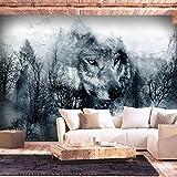 murando - Fototapete Wolf 350x256 cm - Vlies Tapete - Moderne Wanddeko - Design Tapete - Wandtapete - Wand Dekoration - Wald schwarz-weiß g-A-0139-a-b