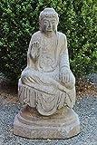 Buddha mit Ermutigungsgeste Stein Tibet China Asien Garten Statue Japangarten