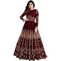 Fast Fashions Women's Embroidered Taffeta Silk Semi Stitched Anarkali Gown (Maroon_Free Size)