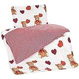 Aminata Kids Kinderbettwäsche 100x135 cm 40x60 cm Teddy-Bär Bärchen mit Herz Mädchen rot Baumwolle Babybettwäsche rot weiß ★ KINDERBETT–GRÖSSE ★