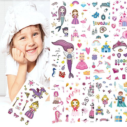 (Meerjungfrau und Prinzessin temporäre Tattoos für Jungen - Packung mit 18 Blatt - große Kinder Party Favors - Non Toxic FDA zugelassene Farbstoffe, drücken auf und abnehmbar)
