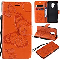 JAWSEU Funda Compatible con Huawei Honor 6A Libro Cover Cartera de Cuero PU Leather Billetera TPU Silicona Interna Suave Carcasa con 3D Mariposa Diseño Soporte Plegable Cierre Magnético,Naranja
