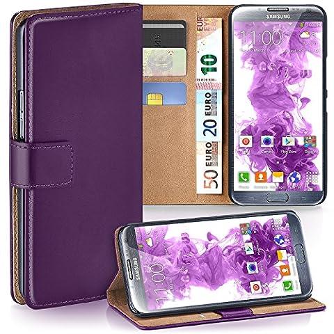 Samsung Galaxy Note 2 Hülle Lila mit Karten-Fach [OneFlow 360° Book Klapp-Hülle] Handytasche Kunst-Leder Handyhülle für Samsung Galaxy Note 2 Case Flip Cover Schutzhülle Tasche