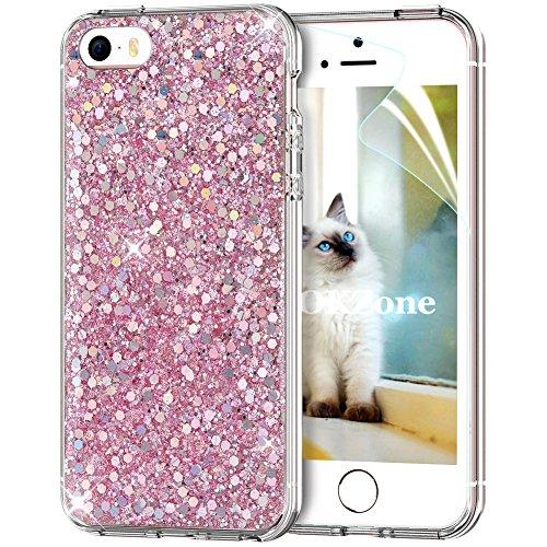 Okzone cover iphone se,cover iphone 5s,custodia iphone 5 custodia lucciante con brillantini glitters ultra sottile designer case cover per apple iphone 5 / iphone 5s / iphone se (rosa)