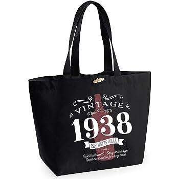 80th Birthday 1938 Keepsake Vintage Wine Funny Gift Gifts For Women Novelty Ladies Female EarthAwareTM Organic Marina Tote