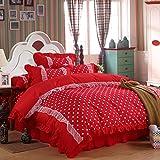 Baumwolle aus reiner Baumwolle eine Einbauküche 4 Stück Princess lace Bed sheet Quilt rosa rosa Doppelbett rock Bettwäsche, strahlende leben, 2,0 m (6,6 Fuß) Bed