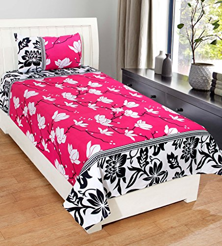 Homefab India 3D Economy 140 TC Polycotton Single Bedsheet with Pillow Cover...
