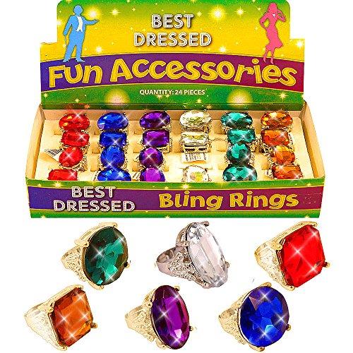 German Trendseller 4 x Juwelen Ringe ┃ Edelstein ┃ Princessin ┃ Cinderella ┃ Mitgebsel ┃ 4 Zauberhafte Glitzer Ringe┃ Größenverstellbar (Cinderella-ring)