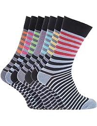 Soho Collection Herren Socken mit Streifen und Konstrast-Zehen- und Fersenbereich, 7 Paar
