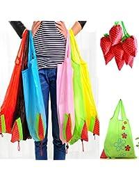 Designeez Cute Strawberry Bags Foldable Tote Eco Reusable Storage Handbag Nylon (Polyester)