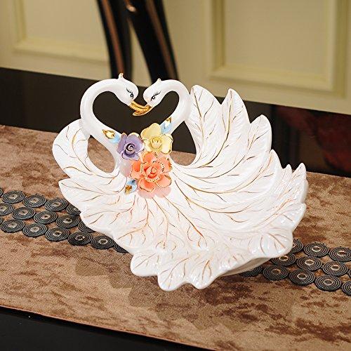 XOYOYO Swan Frucht Teller Creative Modernes Wohnzimmer/Candy Dish Hochzeit Dekoration Keramik Einfache Europäische Haushalt Keramik Swan Candy Dish