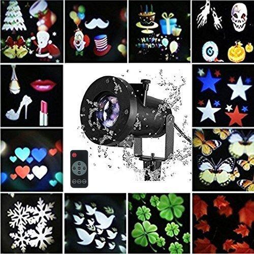 er-Projektor-Lichter, LED Landschaftsprojektor-wasserdichte Lampe mit 12 Stück austauschbare Folien Schneeflocke bunte Bilder Indoor oder Draussen Dekoration für Weihnachten (Indoor-halloween-dekorationen)