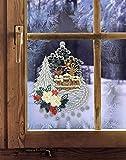 Fensterbild WEIHNACHTSPOST 21 x 26 cm (BxH) echte Plauener Spitze ® inkl. Saughaken / Fensterdekoration für die Winter - und Weihnachtszeit