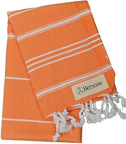 Bersuse 100% coton - Anatolia Petite serviette turque - Pour la tête, les cheveux, le visage, les soins de bébé et la cuisine - Drap de bain, serviette de plage en Fouta Peshtemal - Pestemal rayé de manière classique - 55 X 90 cm, Orange