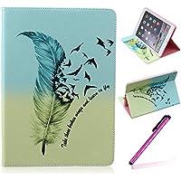 iPad Air 2 (iPad 6, 6th Generation released 2014) Funda,EMAXELERS Synthetic PU Cuero Billetera Iman Dise?o Flip Stand Funda Cover Para Apple iPad Air 2 (iPad 6, 6th Generation released 2014) + 1 Stylus Pen (Feather)