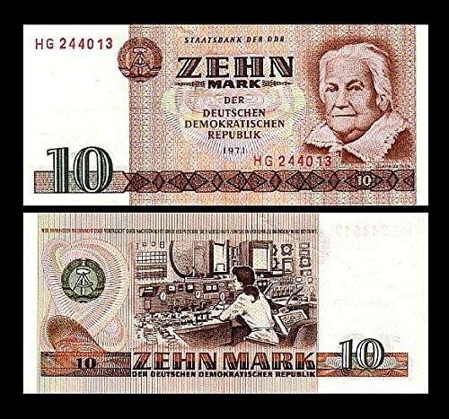 *** 2 Stück 10 DDR Mark Mark Geldscheine 1971 Alte Währung - Reproduktion ***