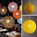 XuBa Lampenschirm 20cm Rattankugel Licht Fall, Hängende Anhänger (keine Lichtquelle) mit E27 Aufhängungsdraht + Runde Saugscheibe