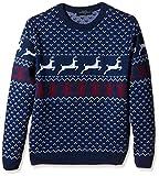 Weihnachtlicher Weihnachtspullis Fairisle Weihnachtspullover Rundhals Herren - Blau - M