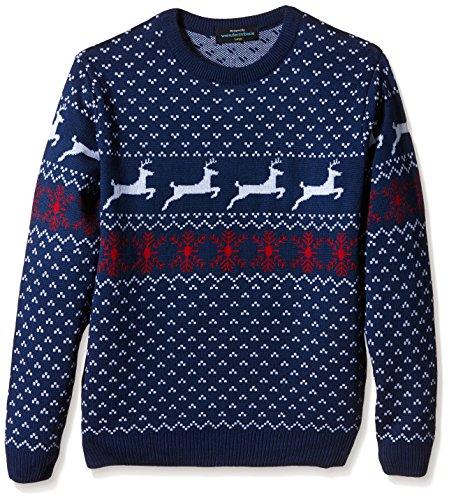 Weihnachtspullis.de Fairisle Christmas Jumper Mens & Ladies Nordic Pattern Blue Round Neck - S to XL-XX-Large