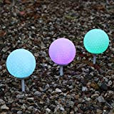 Set of 3 Weatherproof Light Up Golf Balls - Colour Changing Outdoor Tee Stake Lamps by PK Green