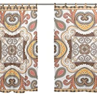 jstel 2 pezzi Voile tenda di finestra, colorful-bandanna – -decorated-paisley-and-swirls-w, Tulle Sheer Curtain