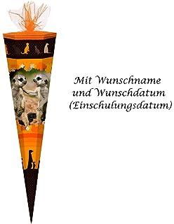 """Schultüte mit Namensgravur 85cm Zuckertüte eckig /""""Safari/"""""""